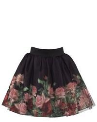 Love Made Love Black Rose Print Tulle Skirt