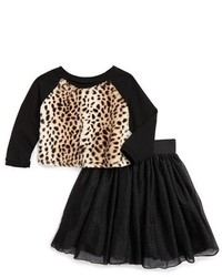 Toddler Girls Pippa Julie Faux Fur Sweater Tulle Skirt Set