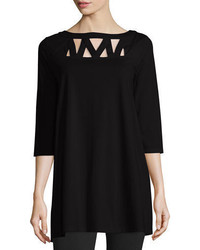 Joan Vass 34 Sleeve Yoke Cutout Tunic Petite