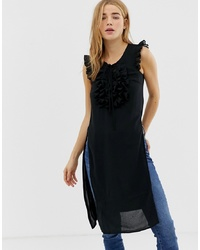 QED London Long Tunic Top With Frill Detail