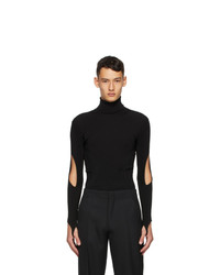 Mugler Black Arm Slit Turtleneck