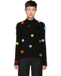 Fendi Black Cashmere Pompom Turtleneck