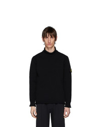 Stone Island Black Intarsia Knit Turtleneck