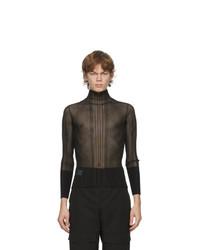 Dion Lee Black Opacity Pleat Long Sleeve T Shirt