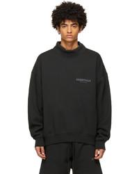 Essentials Black Pullover Mock Neck Sweatshirt