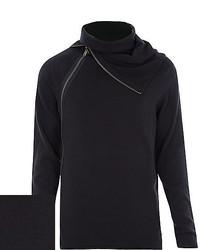 River Island Black Zipped Roll Neck Sweater