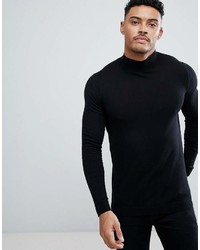 Asos Cotton Turtleneck Sweater In Black