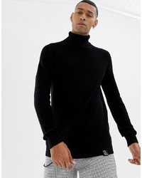 YOURTURN Knitted Polo Neck In Black
