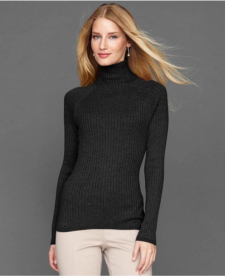 INC International Concepts Long Sleeve Ribbed Turtleneck Sweater ...