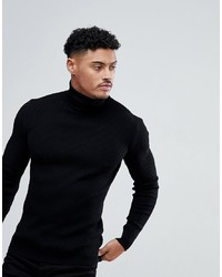 ASOS DESIGN Muscle Fit Ribbed Roll Neck Jumper In Black