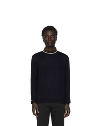 Fendi Navy Wool Mock Neck Sweater