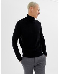 Pier One Plain Turtleneck Jumper In Black