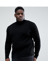 ASOS DESIGN Plus Ribbed Roll Neck In Black