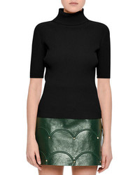Valentino Ribbed Half Sleeve Turtleneck Top