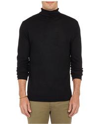 Barneys New York Rolled Edge Turtleneck Sweater Black
