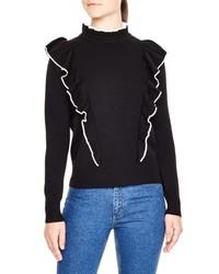 Sandro Ruffle Turtleneck Sweater