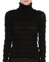Valentino Ruffled Long Sleeve Turtleneck Top