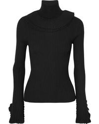 Chloé Ruffled Ribbed Wool Turtleneck Sweater