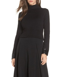 Eliza J Sequin Cuff Mock Neck Sweater