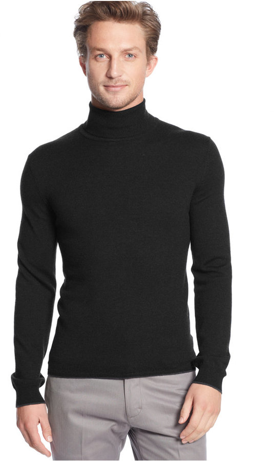 Calvin Klein Solid Tipped Merino Wool Turtleneck Sweater | Where ...