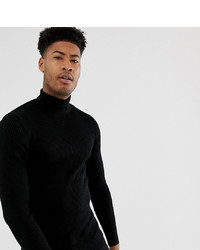 ASOS DESIGN Tall Ribbed Roll Neck In Black