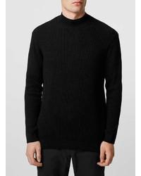Topman Black Rib Turtle Neck Sweater