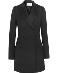 Pallas Angel Satin Trimmed Wool Twill Tuxedo Mini Dress Black