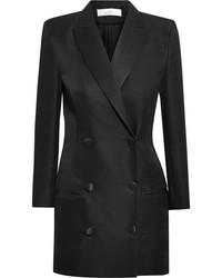 IRO Anja Rubik Quiya Satin Trimmed Wool And Silk Blend Mini Dress Black