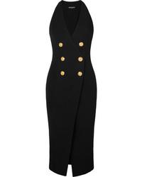Balmain Button Embellished Stretch Knit Midi Dress