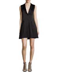 Alice + Olivia Indiana Cross Front Tuxedo Dress Black
