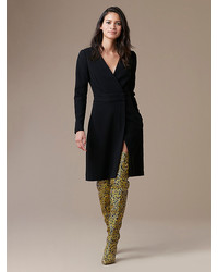 Diane von Furstenberg Long Sleeve A Line Wrap Dress