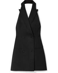 Sara Battaglia Open Back Wool Blend Twill Mini Dress