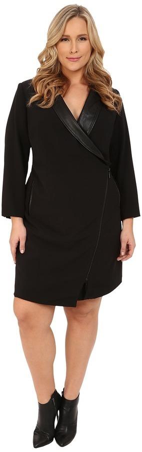 Plus Size Tuxedo Wrap Dress