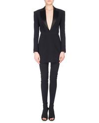 Balmain Satin Lapel V Neck Crepe Tuxedo Minidress Black