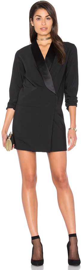 Tibi Tuxedo Dress With Satin Lapel In Black