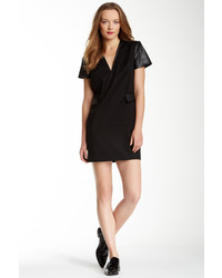 Rachel Zoe Tuxedo Leather Trim Dress