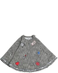 MSGM Cotton Blend Tweed Cape With Patches