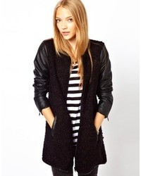 Only Collarless Tweed Coat With Leather Look Sleeve