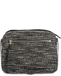 AllSaints Fleur De Lis Tweed Crossbody Bag Black