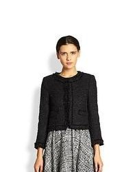 Alice + Olivia Kidman Frayed Tweed Jacket Black