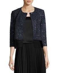 St. John Collection Ribbon Metallic Tweed Jacket W Organza Shirttail