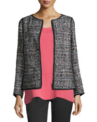 Lafayette 148 New York Keaton Tweed Zip Front Jacket Black Multi