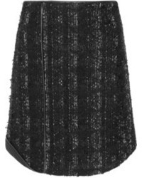 Antonio Berardi Leather Trimmed Boucl Tweed Mini Skirt
