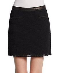 Rebecca Taylor Leather Trimmed Tweed Mini Skirt