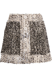 Christopher Kane Metallic Boucl Tweed Mini Skirt Black