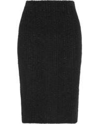 Alexander McQueen Frayed Tweed Skirt Black