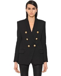 Balmain Double Breasted Wool Twill Long Blazer