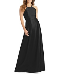 Alfred Sung Lace Up Back Sa Twill Gown