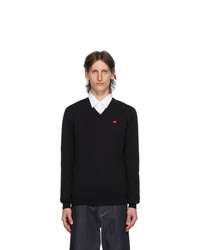 Comme Des Garcons Play Black And Red Heart Patch V Neck Sweater