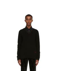 Alexander McQueen Black Cashmere Logo V Neck Sweater
